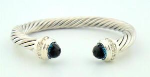 David Yurman 7mm Blue Topaz Cable Classics Bracelet