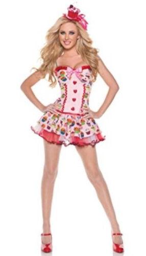 Halloween Cosplay Costume Womens Sz XL Cupcake Girl Sexy Strawberry Pink Dessert