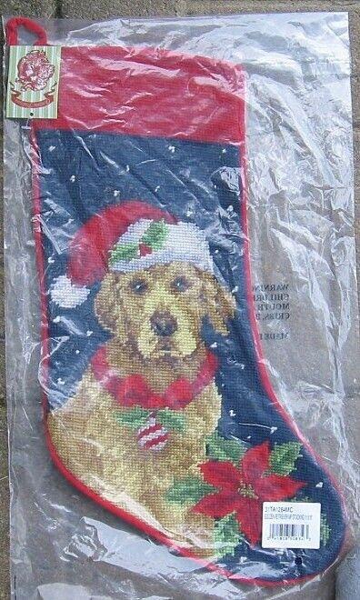 Large Stocking GOLDEN RETRIEVER Dog Breed Needlepoint Christmas Holiday Stocking