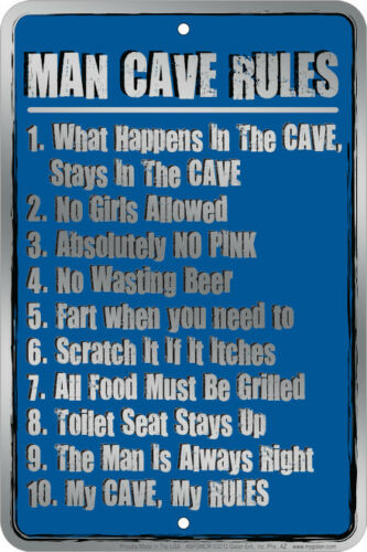 MAN CAVE RULES     -   8x12 metal sign -