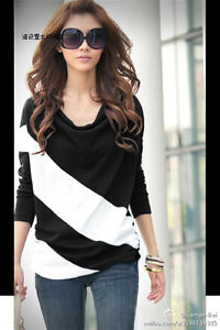 Hot Fashion Women's Batwing Top Dolman Lace Loose T-Shirt Blouse Long Sleeve