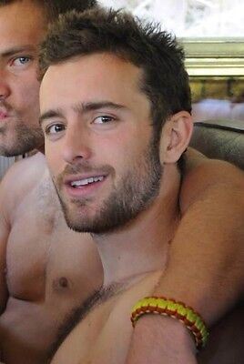 Shirtless Male Dude Beard Smiling Sitting with Friend Hunk Jocks PHOTO 4X6 C377 - Dudes With Beards