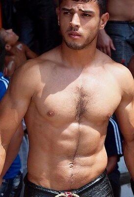 Shirtless Male Athletic Muscular Jock Hairy Chest Face Beefcake PHOTO 4X6 N219