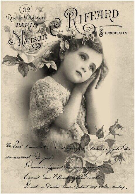 Decoupage-Bastelpapier-Softpapier-Vintage-Shabby-Girl-Mädchen-12731