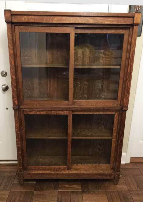 Antique DANNER OAK SECTIONAL LAWYERS ( STACKING) BOOKCASE W/ SLIDING DOORS
