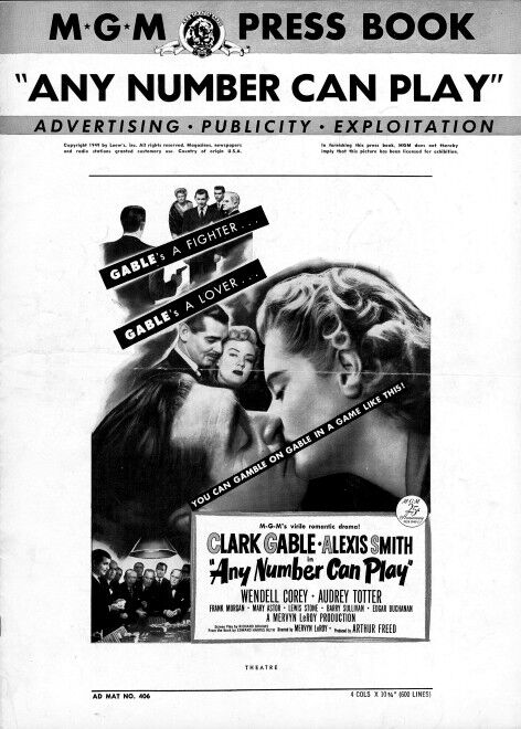 ANY NUMBER CAN PLAY pressbook, Clark Gable, Alexis Smith, Wendess Corey