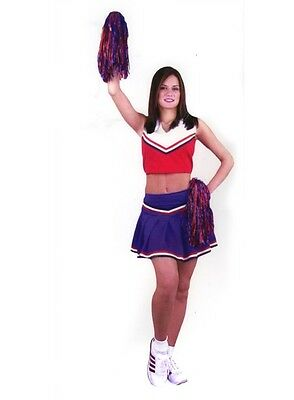 Cheerleader Red White Blue Team USA Fancy Dress Up Halloween Sexy Adult Costume ()