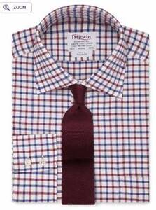 TM LEWIN REGULAR FIT NAVY BURGUNDY CHECK TWILL SHIRT Perth Perth City Area Preview