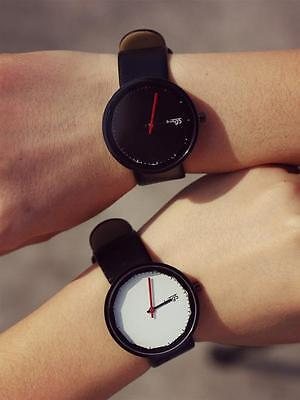 Fashion Contracted Leather Quartz Analog Couple Women Man Wrist Watch Watches