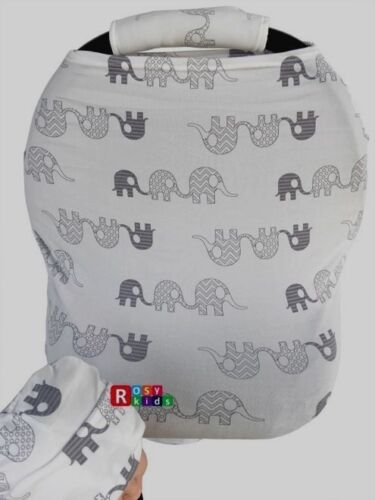 Stretchy Car Seat Canopy Multi Use Cover Baby hat Carrying nursingCover elephant