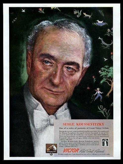 1943 Serge Koussevitzky portrait Victor Records vintage print ad