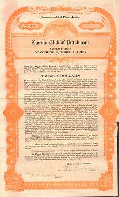 Lincoln Club of Pittsburgh > Mechanics Temple Pennsylvania gold bond certificate