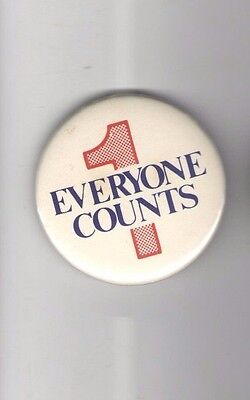 "EVERYONE COUNTS pin NUMERAL Number "" 1 "" pinback button"