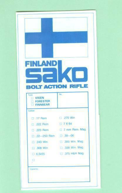 Sako Model Vixen Forester Finnbear Owners Instructions Manual Reproduction