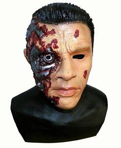 Full Head Latex Cyborg Man Mask Fancy Dress Robot Mask Terminator Arnold