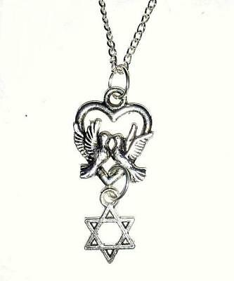 Dove Heart &  Star of David Silver Pendant Necklace * FREE -