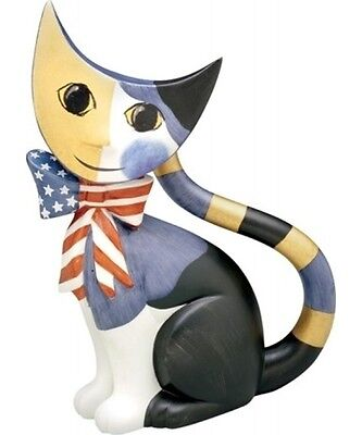 Goebel Rosina Wachtmeiste Sam the Patriotic Cat NIB American Flag Blow on Rummage