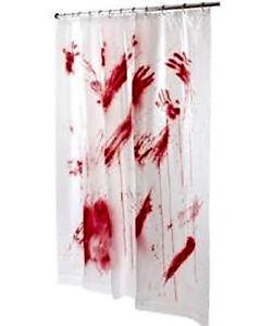 bloody shower curtain 70x72 bathroom scary decor bath tub fun cool halloween - Halloween Bathroom Decor