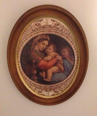 Vintage Oval Italy Madonna Della Seggiola Raffaello Sanzio Framed Print