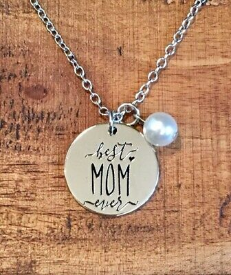 """Rustic Mom Charm Necklace- Stainless Steel- 18""""-Womens Necklace Gift-SHIP FREE"""