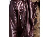 Mens Biker Jacket in Oxblood Genuine All Saints leather Callerton