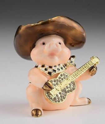 Caja baratija Faberge Pig hecha a mano por Keren Kopal con cristal...