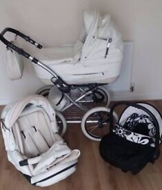 Retro White leather/fabric travel system