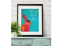 Too Hip To Hop Blue Rabbit Print Hare print Wall Art Wall Decor