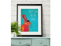 Too Hip To Hop Blue Rabbit Print Hare print Wall Art Wall Decor