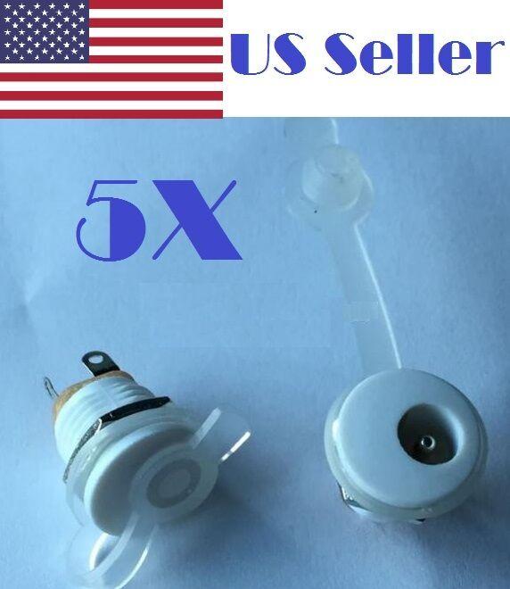 5Pcs DC Power Socket Panel Mounting  White  Waterproof Cap Plug 5.5*2.1mm