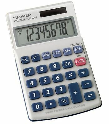 SHARP HAND-HELD / POCKET /  DESK CALCULATOR DUAL POWER EL-240SAB 8 DIGIT