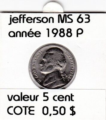 e3 )pieces de 5 cent 1988 P  jefferson
