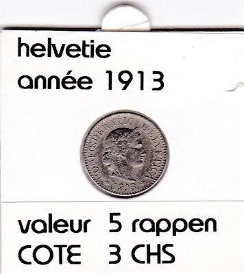 S 1) pieces suisse de 5  rappen de 1913  voir description