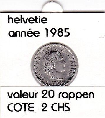 S 1) pieces suisse de 20 rappen de 1985  voir description