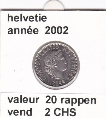 S 2) pieces suisse de 20  rappen de 2002     voir description