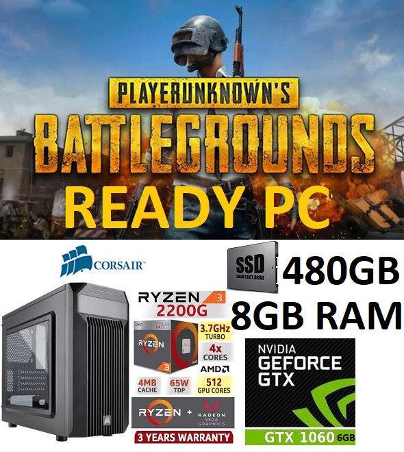 Ryzen 3 2200g GTX 1060 Windows 10 Pro Gaming PC Bundle 1 Year Warranty