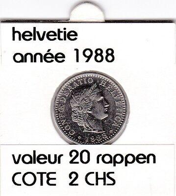 S 1) pieces suisse de 20 rappen de 1988  voir description