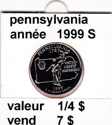 e 3)pieces de 25 cent pennsylvania   1999  S