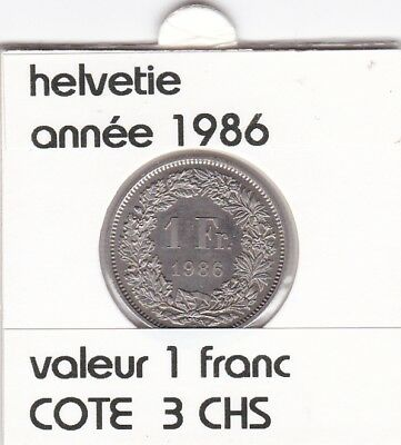 S 2 ) pieces suisse de 1 franc de 1986  voir description