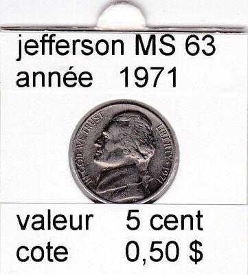 e2 )pieces de 5 cent  1971     jefferson