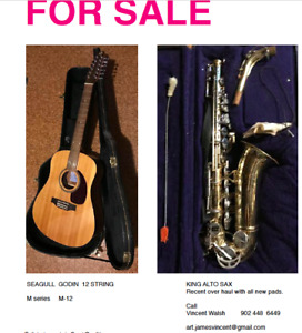 SEAGULL GODIN 12 STRING M-SERIES M-12 AND KING ALTO SAX