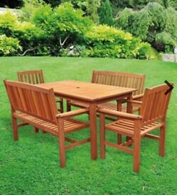 Garden Furniture: Wood Table, 2 benches and 2 armchairs