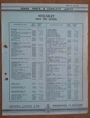 Wolseley New Ten model 1939?    Lucas Parts List 376