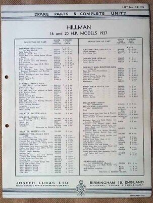 Hillman 16 & 20hp models 1937   Lucas Parts List 276  Others available