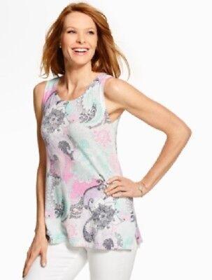 NEW Talbots Women Linen Sweater Tunic-Chrysanthemum Paisley Top Sz S $69.50 NWT