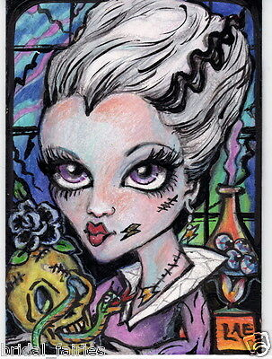 Aceo PRINT halloween Frankenstein big eyes zombie girl #29 art Liquid Acid - Halloween Art Frankenstein