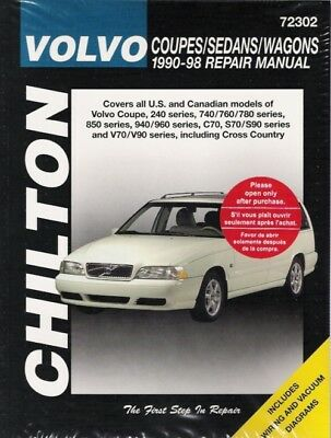 1990-1998 Volvo all Coupes Sedans Wagons Chilton Service Repair Manual Book 0955 1990 Volvo 240 Sedan