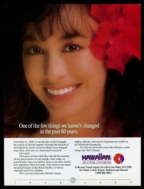 1989 Hawaiian Airlines stewardess color photo vintage print ad