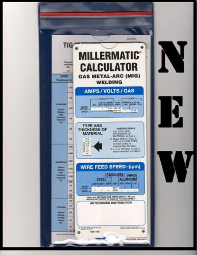 Miller Welding Calculators -New!- 3 Pack (Mig, Tig, Stick) w/ Sleeve -FREE SHIP!