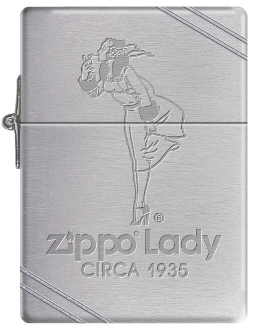 Zippo Windy Girl Lady Circa 1935 Replica Lighter w/ Slashes Windproof RARE